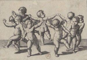 Danse d'enfants conduite par deux Amours